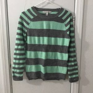 Forever 21 Mint and Gray Striped Sweater Small
